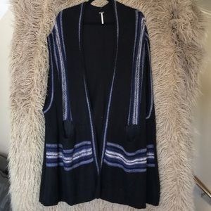 Free people long sweater vest with pockets